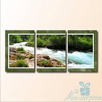 Модульная картина Бурная река из 3 фрагментов (82х37)