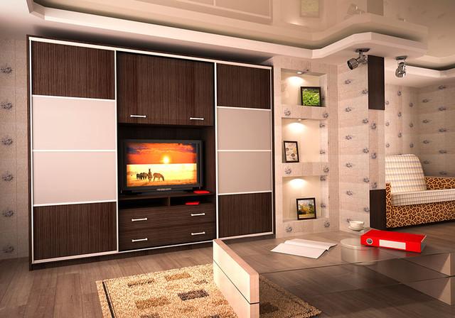 Шкафы Камелот с нишей под ТВ