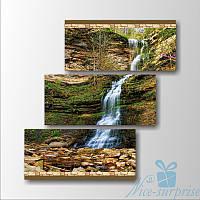 Модульная картина Водопад в горах из 3 модулей, фото 1