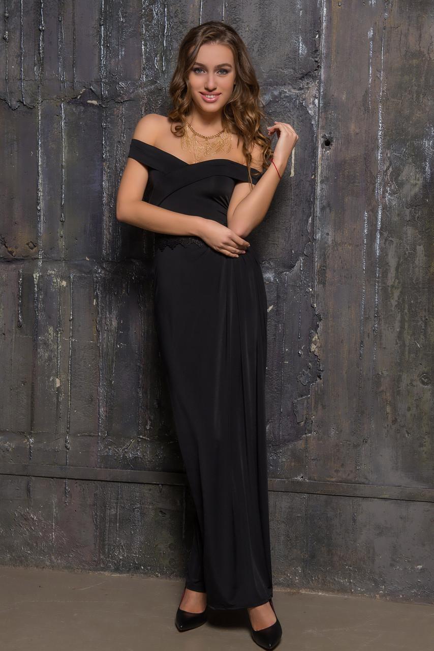 5f3ad99228b Длинное вечернее платье черного цвета с открытыми плечами -  Интернет-магазин excellentstyle.com.