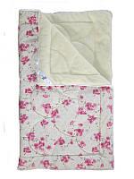 Меховое одеяло евро, Розовые цветы (195х215 см.)