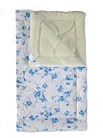 Меховое одеяло полуторное, Голубые цветы (155х215 см.)