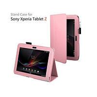 Светло-розовый чехол на Sony Xperia Tablet Z из синтетической кожи.