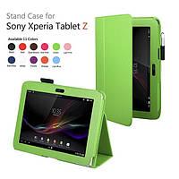 Зеленый чехол на Sony Xperia Tablet Z из синтетической кожи.