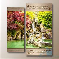 Модульная картина Диптих Водопад из 2 частей