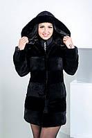 """Пальто из Рекса """"Нати"""" с капюшоном отделкой из норки"""