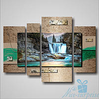 Модульная картина Квадриптих Водопад из 4 частей