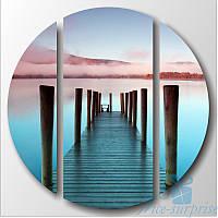 Круглая модульная картина Триптих Голубая вода, фото 1