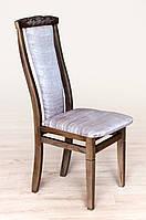 Мягкий обеденный стул с высокой спинкой для гостинной Чумак-2 Тёмный орех