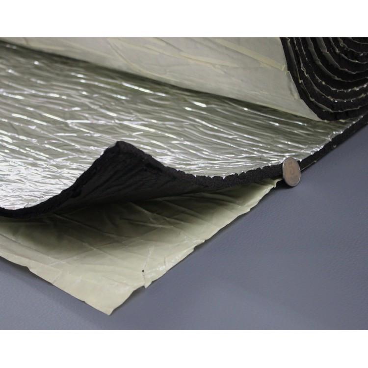 Шумоизоляция для авто с фольгой 10мм каучуковая, Flex-optimal 10 ФК, лист 50х75 см