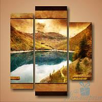 Модульная картина Горы и озеро из 3 модулей