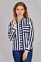 Белая блуза в синию полоску
