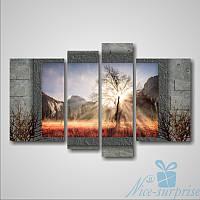 Модульная картина Дерево и лучи солнца из 4 модулей