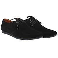 Мужские замшевые туфли от ZLETT (модные, удобные, черного цвета, на шнурках)