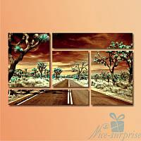 Модульная картина Дорога через пустыню  из 5 фрагментов