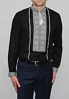 Чоловіча вишиванка чорна з довгим рукавом 1081