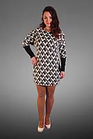 Женское Платье-туника свободного кроя с оригинальным принтом