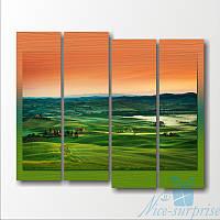 Модульная картина Зеленые холмы из 4 фрагментов, фото 1