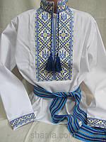 """Вышиванка """"ВОЛЯ"""" для подростка мальчика синяя, поплин, рост 98-116, 185/165 (цена за 1 шт. +20 гр.)"""