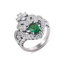 Кольцо с бриллиантами и изумрудом.
