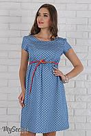 Легкое платье для беременных и кормящих Celena, сердечки на голубом