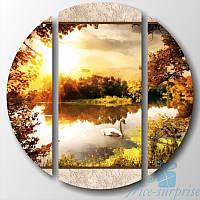 Круглая модульная картина Утро в парке из 3 фрагментов, фото 1