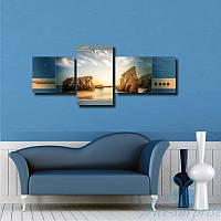 Модульная картина Морская чайка на закате из 3 частей, фото 1