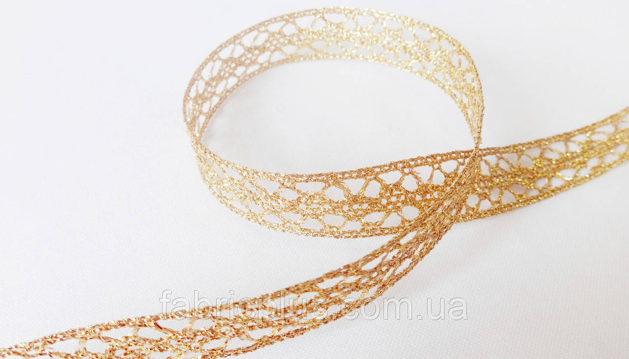 Тесьма декоративная 18 мм люрекс золото