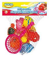 Набор игрушек для купания с сачком Морские жители (украинская упаковка), BeBeLino (57087)