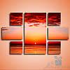 Модульнакая картина Оранжевое солнце из 7 фрагментов