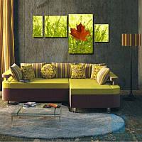 Модульная картина Осенний лист из 4 фрагментов