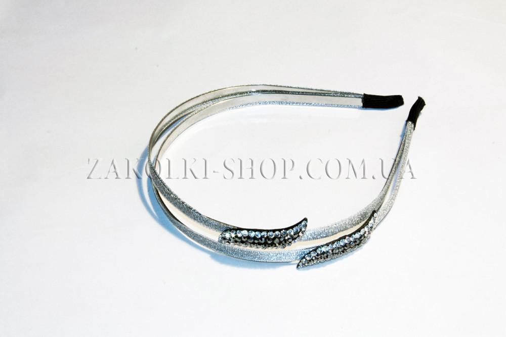 Обруч для волос металлический двухрядный обтянутый тканью с камнями, 1 штука