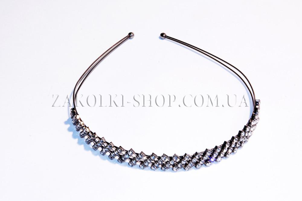 Обруч для волос металлический двухрядный с камнями чешское стекло, 1 штука