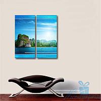 Модульная картина Диптих Остров из 2 частей, фото 1