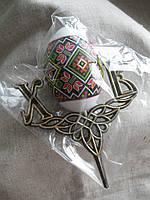Сувенирное украшение яйцо пасхальное на подставке пластиковое высота 14,0 см.
