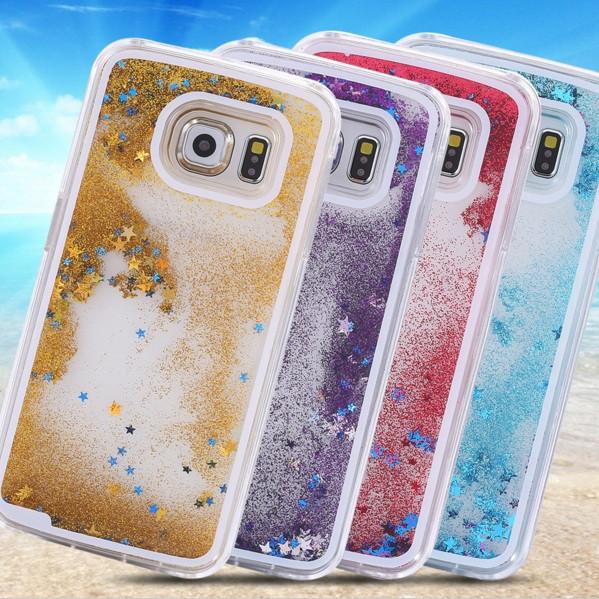 Чехол для Samsung S6 Edge G925 жидкий с блестками