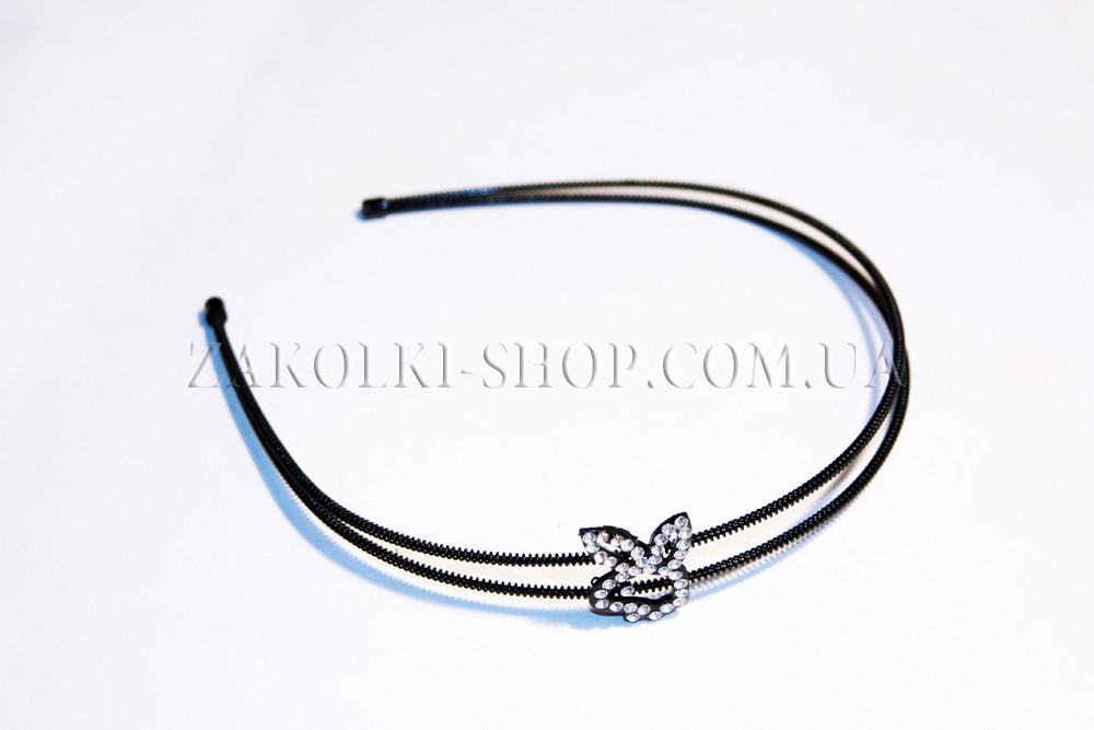 Обруч для волос металлический двухрядный с камнями чешское стекло, PLAYBOY, 1 штука