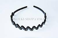 Заколки и аксессуары для волос оптом; Обруч пластиковый с камнями чешское стекло, 1 штука