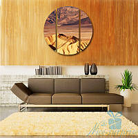 Круглая модульная картина Пустыня из 3 фрагментов, фото 1