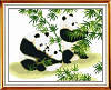"""Набор для вышивки крестом с печатью на ткани 14ст  """"Семья панды"""""""