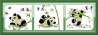 """Набор для вышивки крестом с печатью на ткани 14ст  """"Триптих Три милые панды"""""""