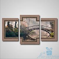 Модульнакая картина Романтический мост в лесу из 3 модулей