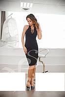 Изысканное коктейльное платье со шнуровкой Черный