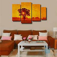 Модульная картина Солнце за деревом из 4 фрагментов, фото 1