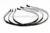Обруч фурнитура; основа металл с черной тканью, ширина 7 мм, 12 штук в упаковке