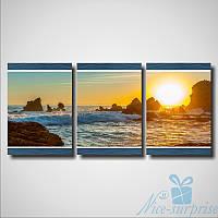 Модульнакая картина Триптих Солнце и море из 3 частей