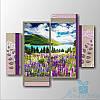Модульная картина Цветы в горах из 4 фрагментов