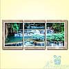 Модульная картина Широкий водопад из 3 фрагментов