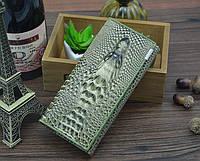 Кожаный женский  кошелек с 3D изображением крокодила Зеленый Акция!