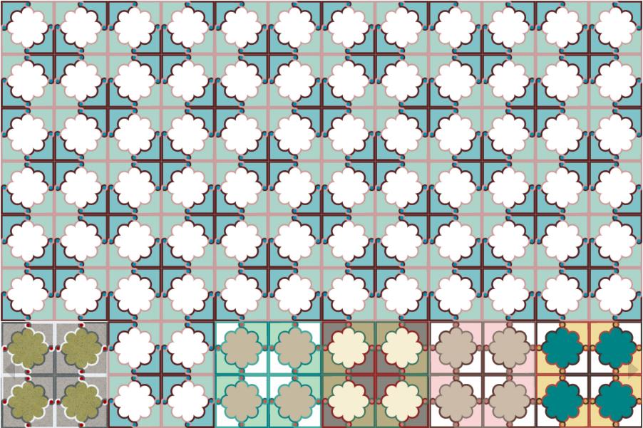 Декоративная цементная плитка ручной работы в марокканском стиле, 20х20 см. Дизайнерский орнамент